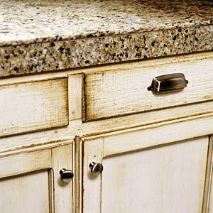 How to select kitchen cabinets cabinetry finishes for Antique distressing kitchen cabinets