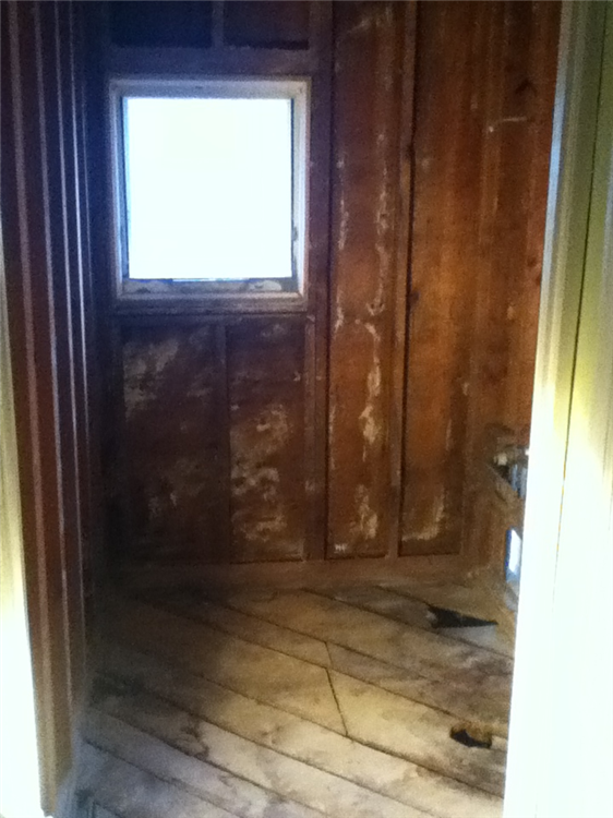 bathroom demolished to bare studs window removed for walk in shower installation