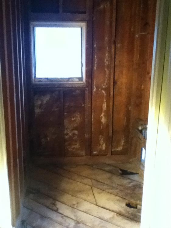 bathroom demolished to bare studs window removed for walk in shower installation - Bathroom Remodel Lansing Mi