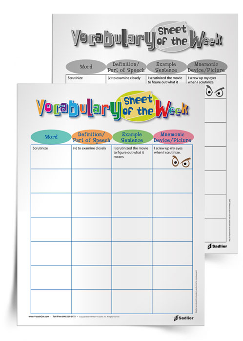 <em>Vocabulary Sheet of the Week</em>