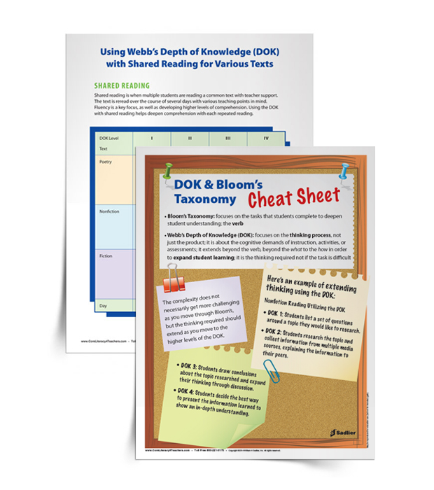 <em>DOK & Bloom's Taxonomy Cheat Sheet</em> and <em>Shared Reading Chart</em>
