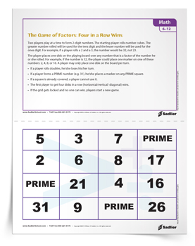<em>The Game of Math Factors:  Four in a Row Wins!</em>