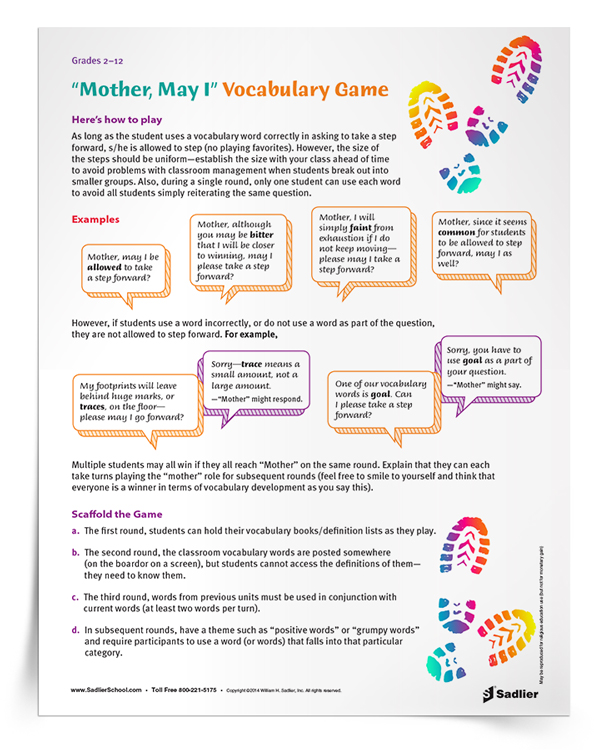 <em>Mother, May I?</em> Vocabulary Game