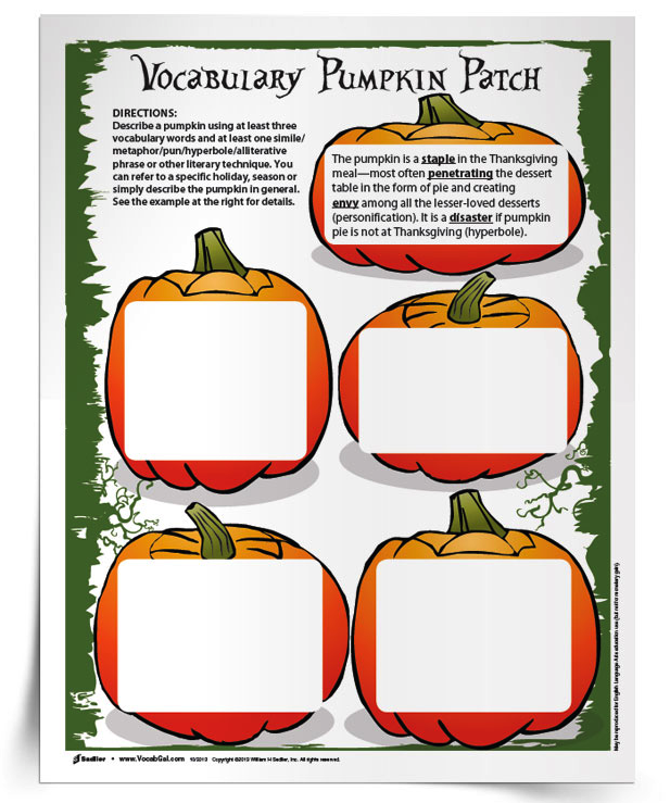 <em>Pumpkin Patch</em> Vocabulary Activity
