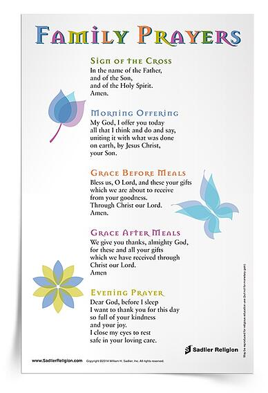 To support prayer during the summer months, share this Family Prayers Prayer Card with the families in your religious education program. This simple resource encourages families to embrace everyday opportunities to pray with children, offering the text for five traditional prayers that can be prayed together daily.