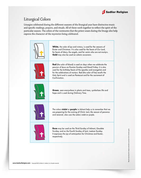 Liturgical Colors Mini Lesson Activity
