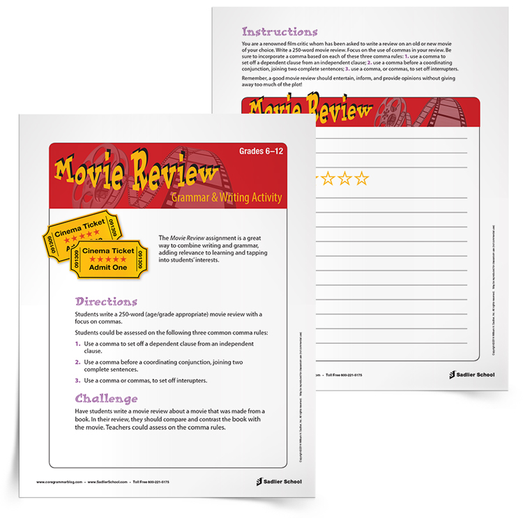 <em>Movie Review</em> Grammar & Writing Activity