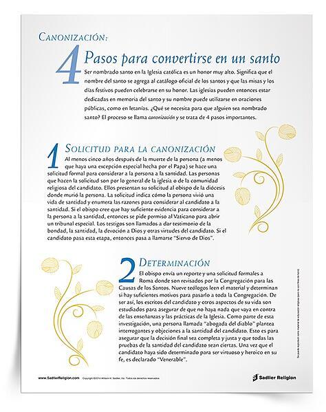 Enseñe a sus estudiantes sobre los pasos hacia la santificación con el recurso Canonización: 4 pasos para convertirse en un santo.