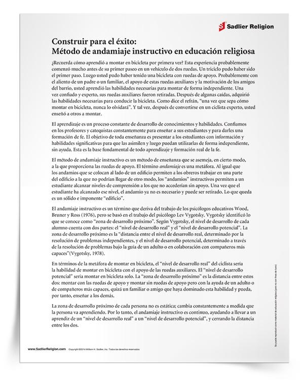 <em>Método de andamiaje instructivo en educación religiosa</em>