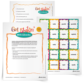 <em>Get Shakin' with Adverbs</em> Activity