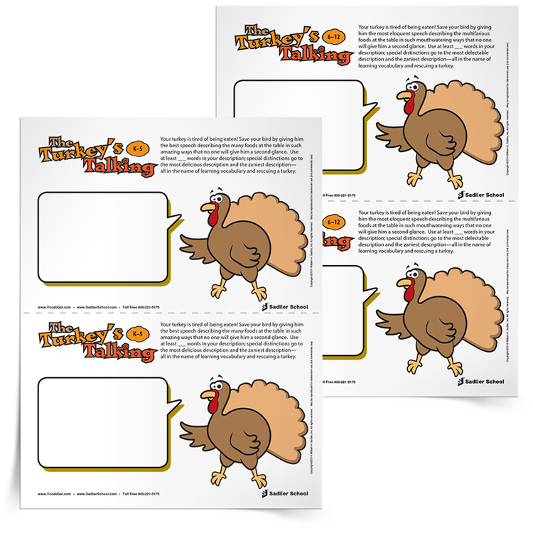 <em>The Turkey's Talking</em> Vocabulary Activity