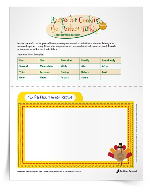 Cooking the Perfect Turkey Sequence Writing Activity, Grades 1–3