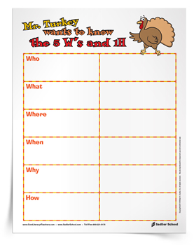 <em>Mr. Turkey 5W's and 1H</em> Graphic Organizer
