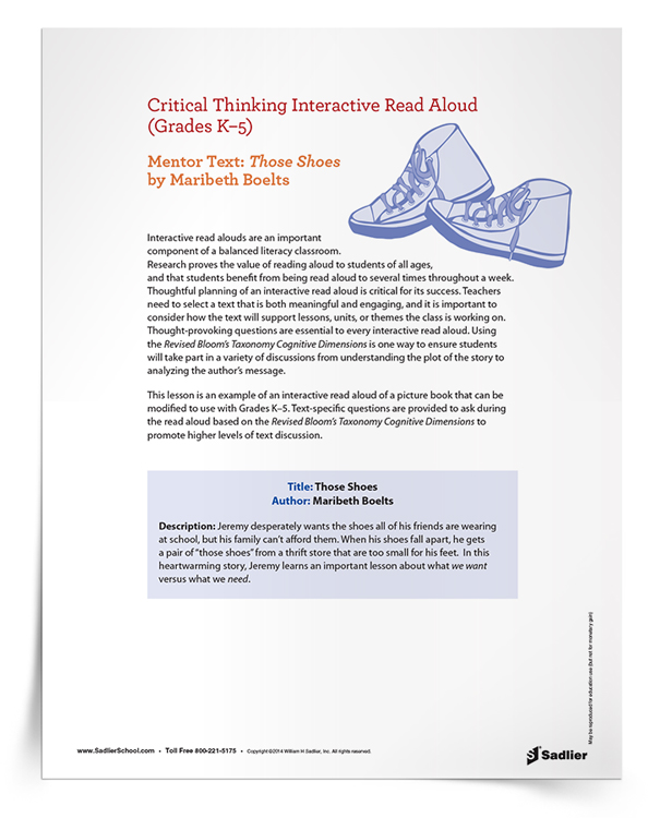 Critical Thinking Interactive Read Aloud of <em>Those Shoes</em>