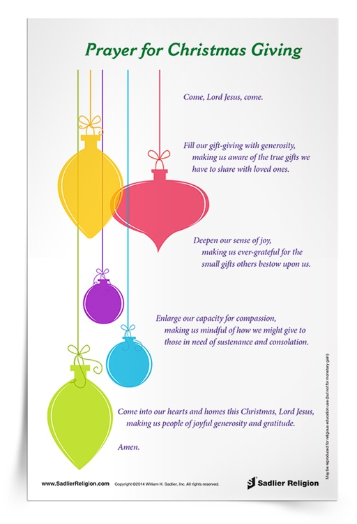 Christmas Printable Activities  Prayers For Catholic Kids Prayer For Christmas Giving