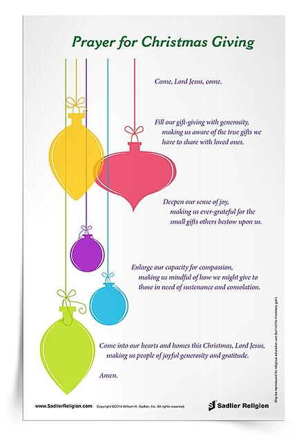 Use the Prayer for Christmas Giving Prayer Card in your religious education classroom or home.