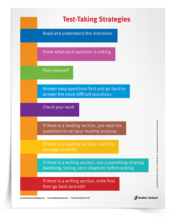 Whether it is a classroom assessment or a high-stakes testing situation, there are some test-taking strategies that students can employ to help themselves on test day. Download a Test-Taking Strategies Poster to hang in your classroom!