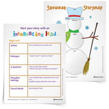 <em>Snowman Story Map</em> Organizer & Interesting Lead Tip Sheet