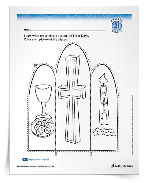 Download a primary printable activity in which children design a triptych to show that we celebrate the death and Resurrection of Jesus during the Easter Triduum.