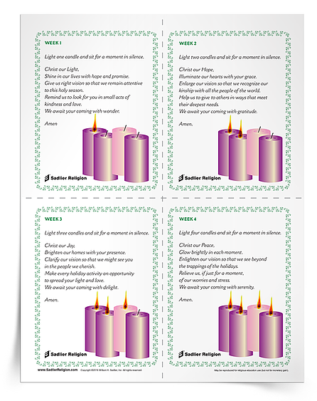 We invite you to download Prayer for Lighting the Advent Wreath Prayer Card to use at home or in your parish.