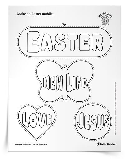 Make Easter mobiles with children in your religious education class using this printable handout!