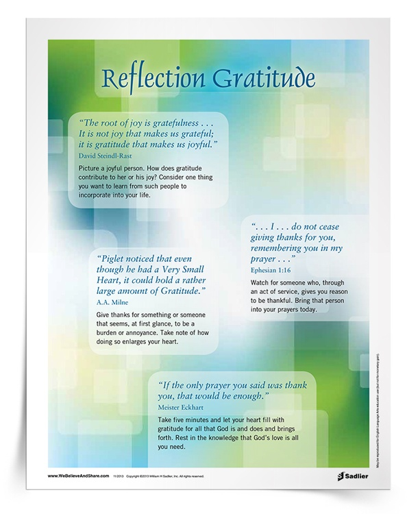 <em>Reflection on Gratitude</em> Handout