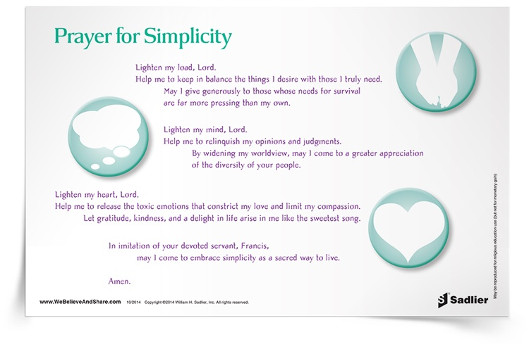 <em>Prayer for Simplicity</em> Prayer Card