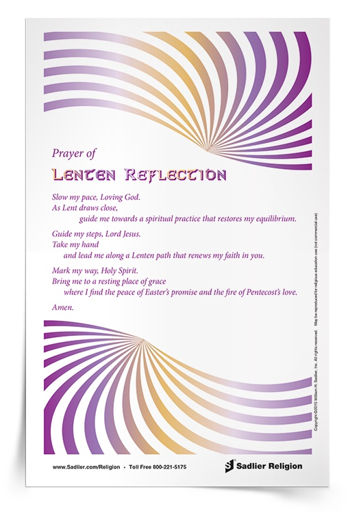 <em>Prayer of Lenten Reflection</em> Prayer Card