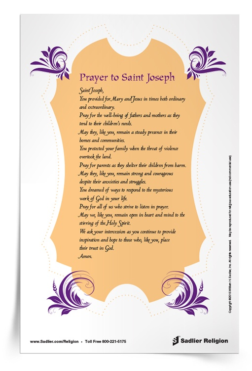 photo about Printable Prayer to St. Joseph referred to as Feast of Saint Joseph Prayer Card