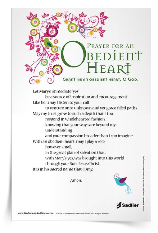 <em>Prayer for an Obedient Heart</em> Prayer Card