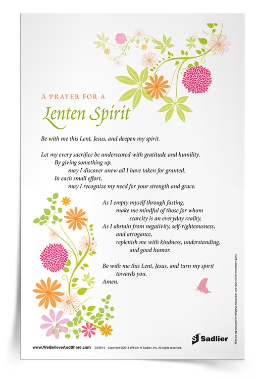 <em>Prayer for a Lenten Spirit</em> Prayer Card