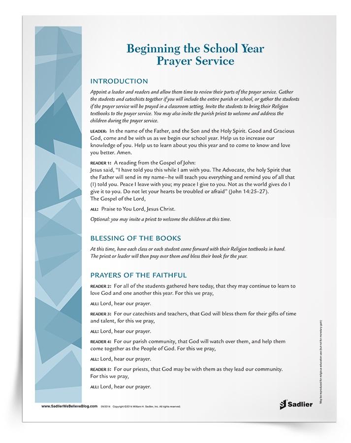 <em>Beginning the School Year</em> Prayer Service