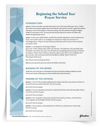 Free simple prayer service to set the tone for your new year of Catholic Religious Education