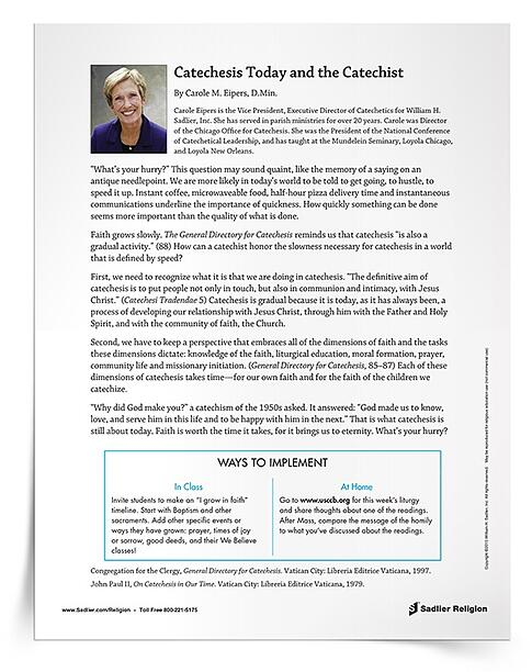"""In her catechist development article Catechesis Today and the Catechist, Dr. Carole Eipers writes, """"Faith grows slowly"""". The General Directory for Catechesis reminds us that """"catechesis is also a gradual activity."""" (88) How can a catechist honor the slowness necessary for catechesis in a world that is defined by speed?"""