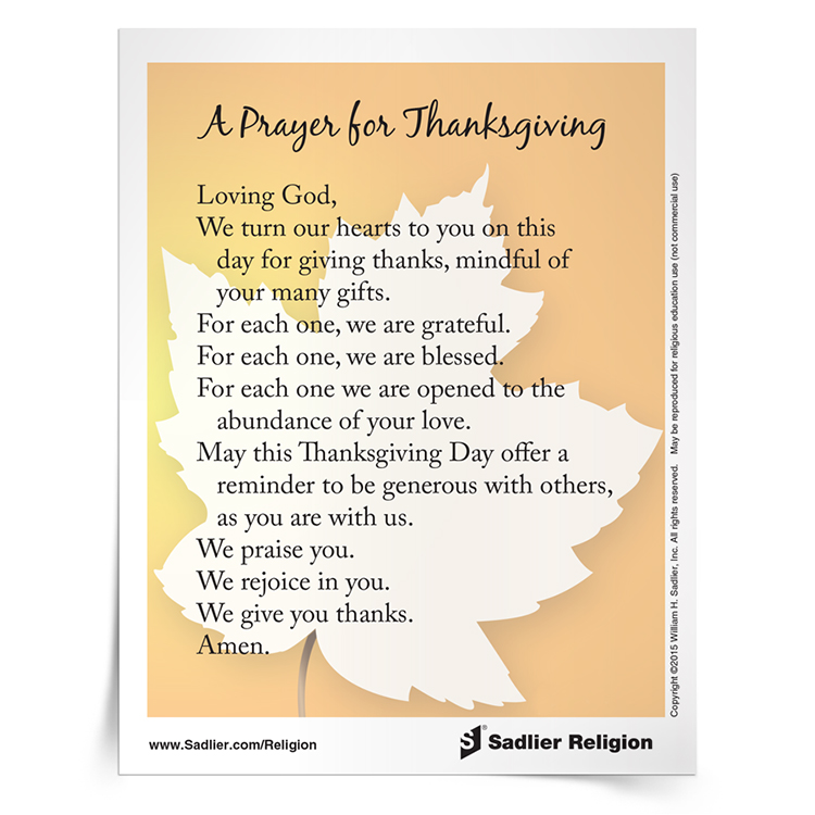 <em>Prayer for Thanksgiving</em> Prayer Card
