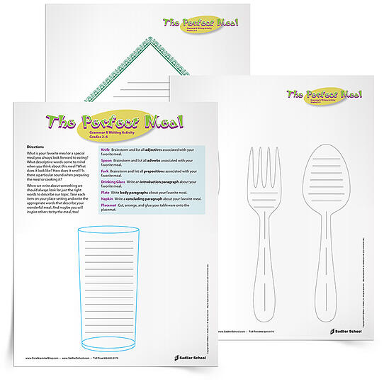 Summer Learning Activities - Perfect Meal Essay Writing Activity