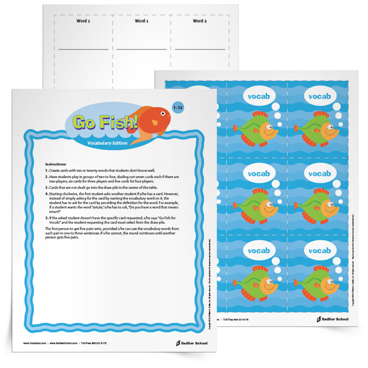 Go fish vocabulary game grades 1 12 for Go fish instructions