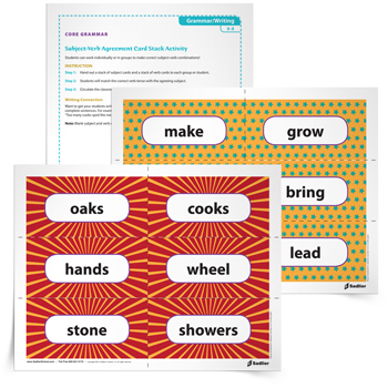 <em>Subject-Verb Agreement Card Stack</em> Grammar Game