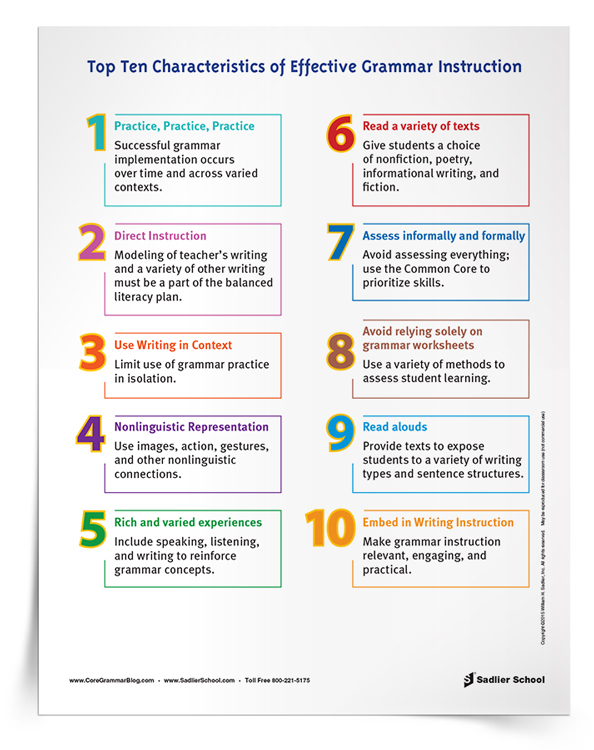 <em>Top 10 Characteristics of Effective Grammar Instruction</em> Tip Sheet