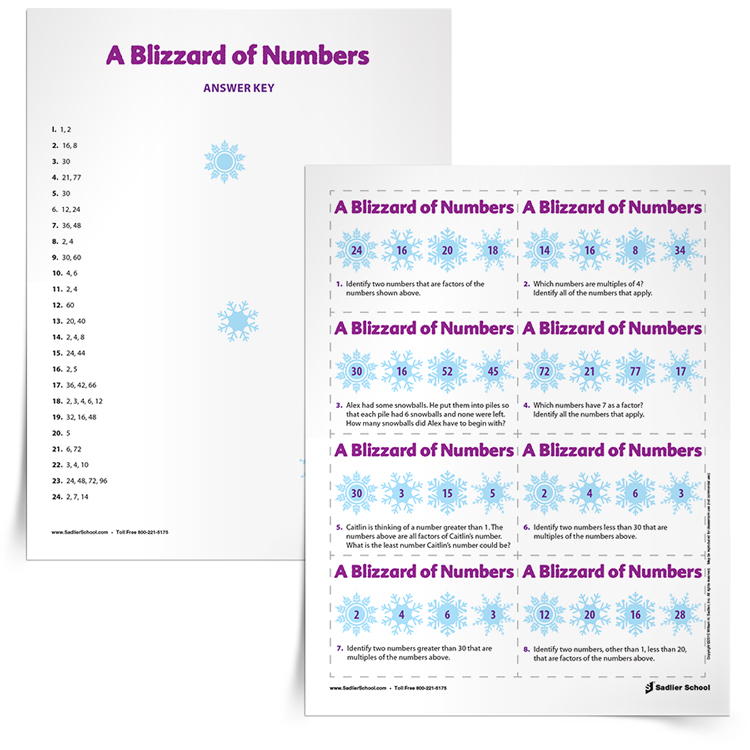 <em>Blizzard of Numbers Factors and Multiples</em> Math Game