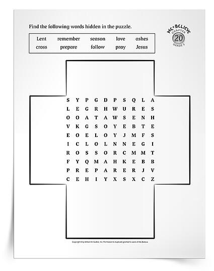As children in your catechetical program learn that Lent is a season of preparing, share a Lenten Word Search Puzzle Activity. Download and distribute the activity sheets to students.