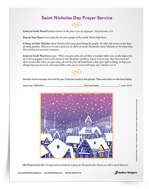 Printable Saint Nicholas Feast Day Prayers & Activities