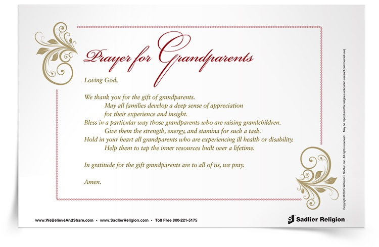<em>Prayer for Grandparents</em> Prayer Card