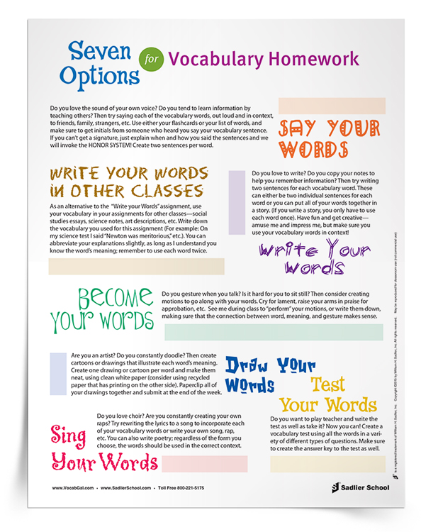 With the 7 Options for Vocabulary Homework bundle, students can choose from a variety of fun and engaging activities for learning or reviewing vocabulary words. In addition to the homework selection sheet, the bundle includes worksheets for vocabulary homework ideas number five and six. The other vocabulary homework options can be completed on a plain peice of paper or in student workbooks.