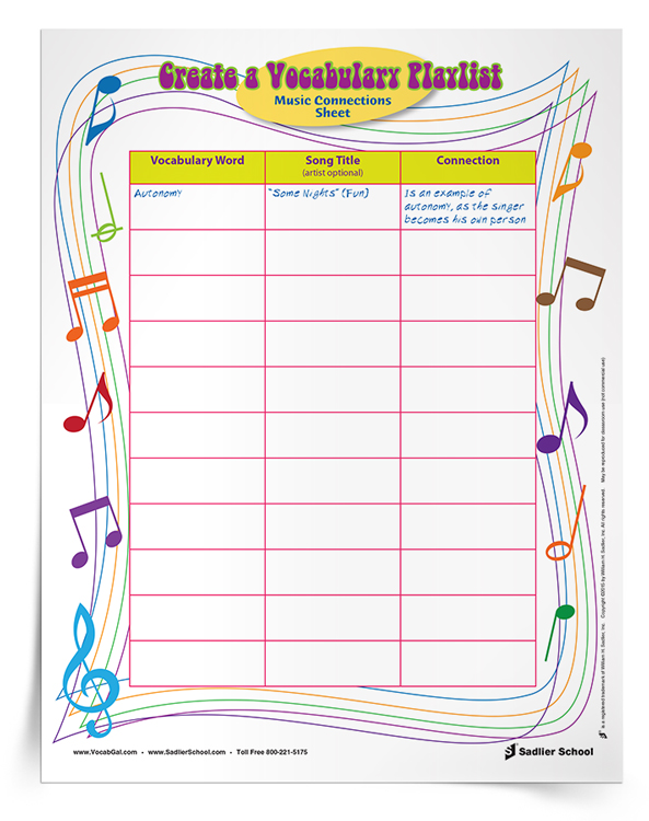 Vocabulary Homework Idea: Use music to inspire students to learn vocabulary words! With the Create a Vocabulary Playlist Activity students will Make mnemonic connections to words and definitions by simply linking each word to a favorite relevant song.
