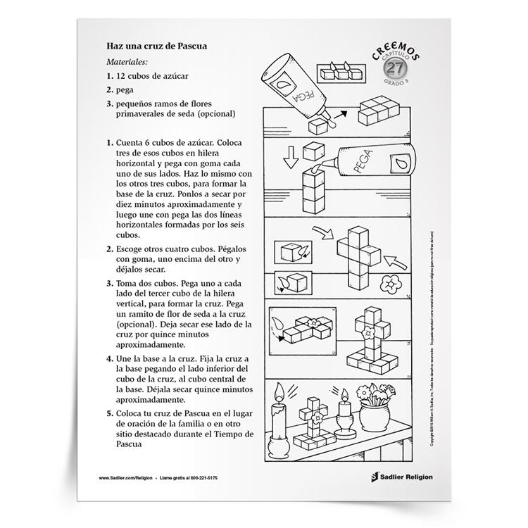 Recursos de Pascua para niños católicos - Actividad de manualidades Cruz de la Pascua