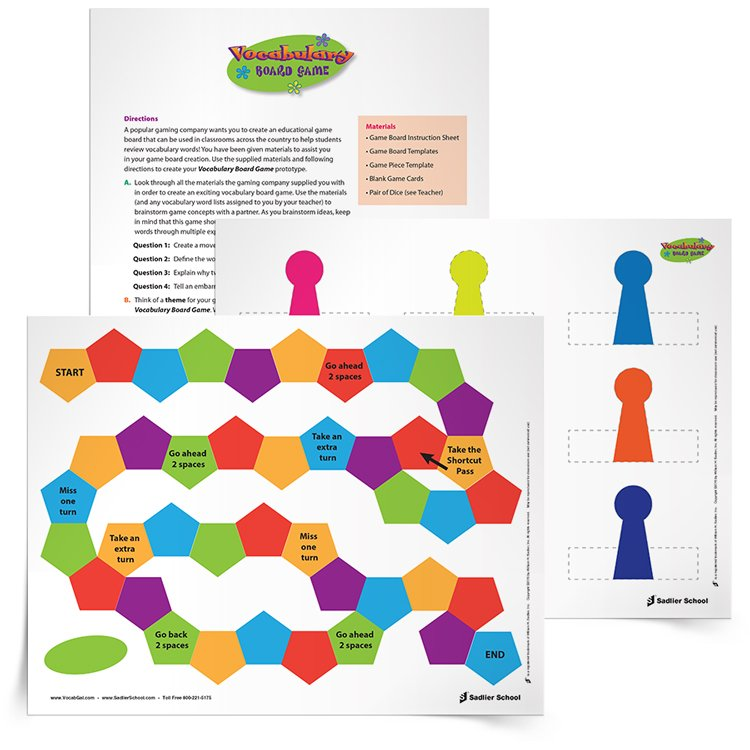 board game instructions template - cut paste create have students create vocabulary