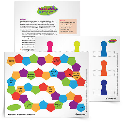 Design Your Classroom Games ~ Cut paste create have students vocabulary