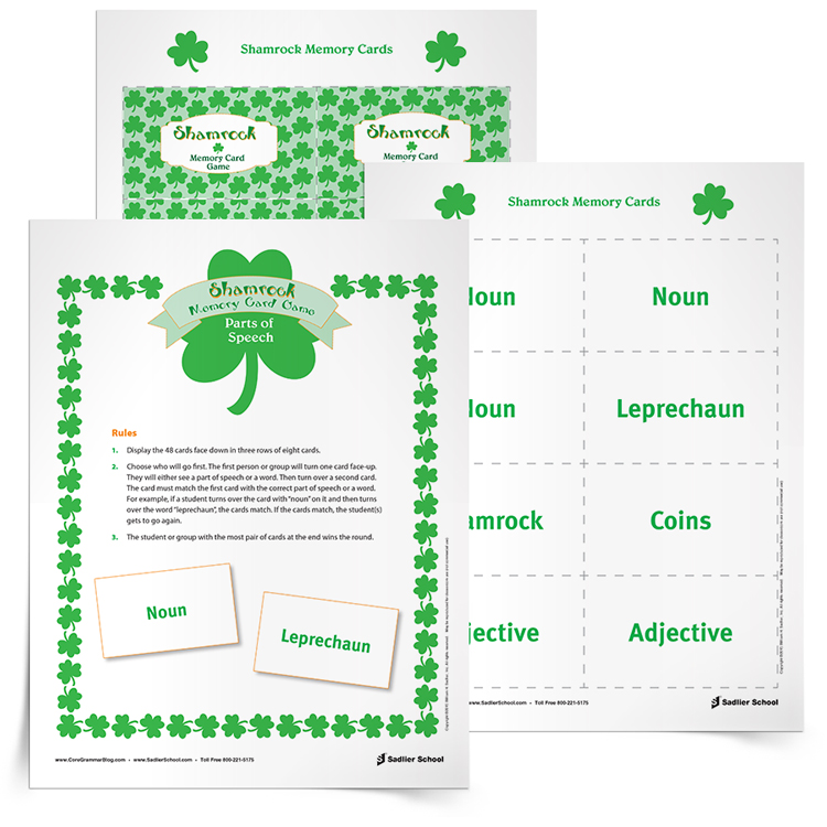 Shamrock Parts of Speech Review Game Grades 3 6 – Eight Parts of Speech Worksheet
