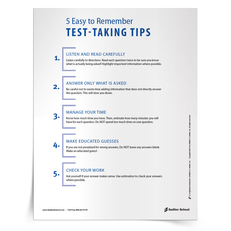 5 Strategies for Answering Math Test Questions Tip Sheet